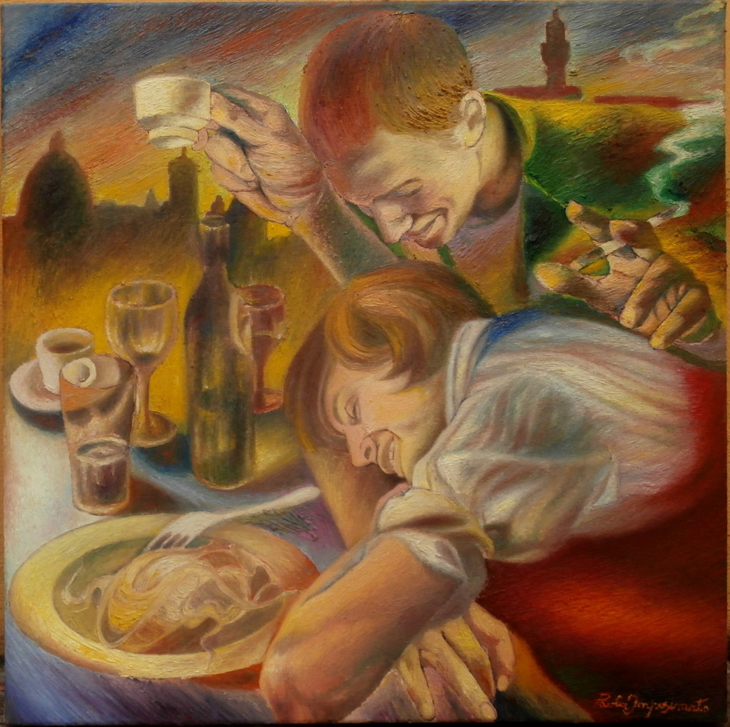 """""""Art is on the table"""" Group Exibithion at Bastogi Palace, Regione Toscana, Via Cavour 18, Florence, 11 - 27 April 2016 Oil on canvas painting """"Tra gli stornelli"""", 50x50"""